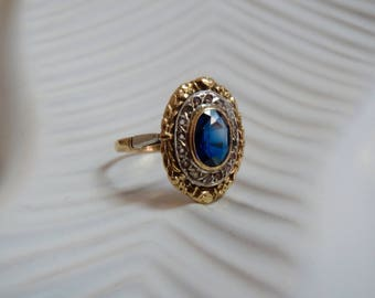 Antique 18K French Sapphire Paste Ring with Eagle Head Hallmark