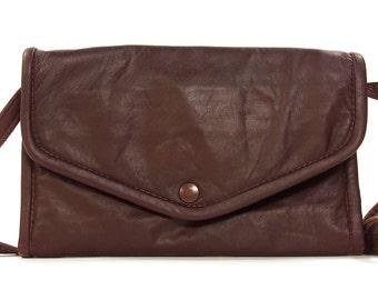 90s Julia Duren Convertible Clutch / Vintage 1990s Wallet Organizer / Burgundy Leather / Small Trifold Purse / Removable Shoulder Strap