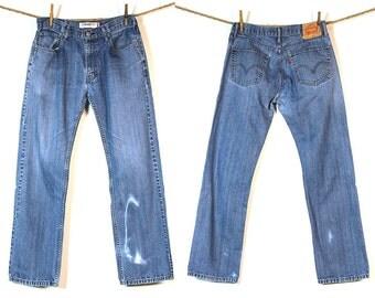 Levi's 505 Jeans / Vintage 1980s Levi's Distressed Denim / 32 W x 30.75 L