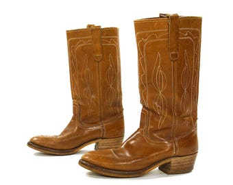 70s Campus Boots / Vintage 1970s Brown Leather Classic Cowboy Western Boho Biker Motorcycle Pull On Stovepipe Boots / Women's Size 11