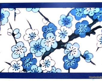 Blue Dogwood Cork Board, Blue Flower Cork Pin Board, Flower Tack Board, Cork Message Board, Home Decor, Office Decor