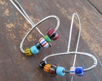Silver HOOP Earrings African Trade Bead Earring Boho Silver Jewelry Colorful Earrings Multicolor Hippie Jewelry Dangling Hoop Earrings