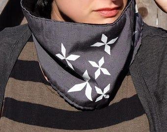 Neckwarmer scarf - gray with black fleece lining - for women - diamond snowflake design - cowl, neck warmer