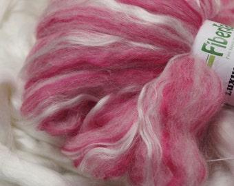 Bamboo/Alpaca/Merino Wool Spinning Fiber - Strawberry Shortcake