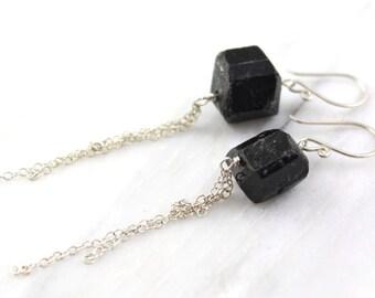 Black Tourmaline Silver Chain Cascade Earrings