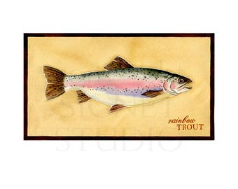 fine art giclee, fishing, Trout, watercolor painting, gifts, decor, men, Father's Day, dad, fish