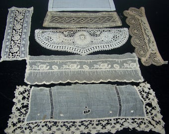 Vintage  Bits And Pieces Trim Applique Craft Doll Clothes Costume Doll Up Cycle Embroidery Lace n4
