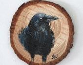 Raven No. 4 - Original Acrylic Art, Painted on Wood Slice