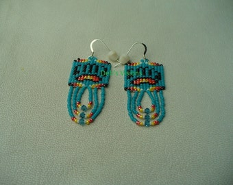 Native American Style loomed Bear Paw earrings in Cerulean and Fire colors