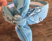 Last One!  Vintage Washed Bandana Knot Tie Headband Bandanna Head Wrap Rock Fashion Headband (BLUE)
