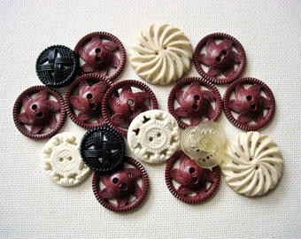 Lovely Lot of Various Pierced Vintage Plastic Buttons
