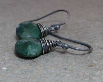 Emerald Earrings Green Dangle May Birthstone Oxidized Sterling Silver Gift for Her Minimalist Earrings