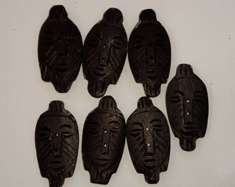 African Face buttons - carved look, tribal button set