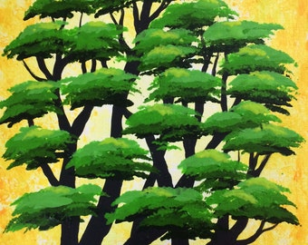 Green forest, Tree Art, Tree painting, wall decor, Original acrylic painting