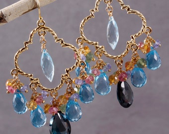 Final Sale - London Blue, Swiss Blue and Sky Blue Topaz Chandelier Earrings