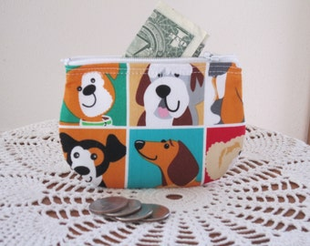 Coin Business Card Clutch Zipper Small Essential Oils Case Gift Card Holder Dogs in  Made in the USA
