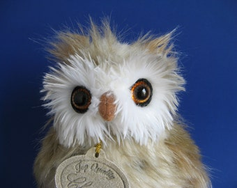 Vintage Small Owl Stuffed Animal by Classic Aurora 1990s Toys Small Bird Woodland Creature Night Hunter Mouse Catcher Plush