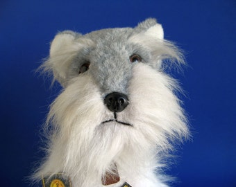 Vintage Miniature Schnauzer Dog Stuffed Animal with all Original Tags IKC 24K Polar Puff Realistic 1980s Toy Vintage Kids Dog Lover
