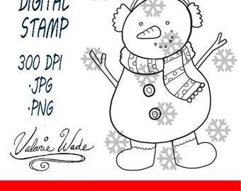 Hand Drawn Snowman Digital Stamp