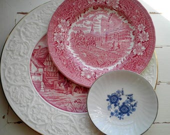 Vintage Toile Plates - 3 Lot of Collectible Ceramic + China Wall Art / Home Decor - Shabby Chic Farmhouse Blue & Red Floral Toile Dishes
