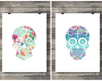 Printable art | Watercolor floral Sugar Skulls | set of 2| Printable wall art | Dia di los Muertos print | Mexican skull | Instant download