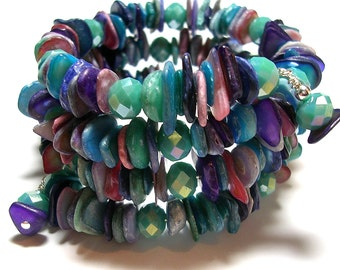 Purple Mauve and Blue Shell Memory Wire Bracelet Crystal Chip Bracelet Rainbow Mother of Pearl Bangle Colorful Chip Wrap