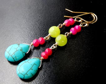 Neon Turquoise Earrings, Colorful Teardrops, Long Boho Drop Earrings