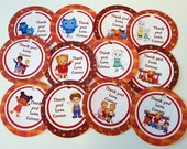 Custom Listing for Chrissy,  Daniel Tiger's Neighborhood theme thank you tags, favor tags, gift tags - set of 12