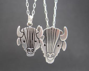 Mother Daughter Buffalo Necklace Set - Two Sterling Silver Bison Pendants - Western Mother's Day Gift