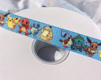"Pokemon Grosgrain Ribbon CLEARANCE 7/8"" Ribbon 7 yards"