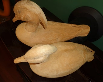 Two older duck decoys unfinished Duck Decoys Hand Carved need finishing/
