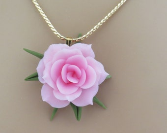 Necklace  Floral Pendant Pink Handmade  Cold Porcelain Gold Chain Durable Gift for Her