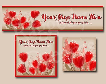 Premade Etsy Cover Photo  - Large Etsy Banner - Etsy Shop Banner - Shop Icon - Beautiful Red Tulips - Flowers - Valentine's Day