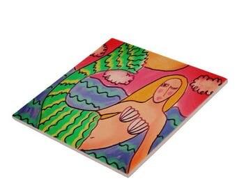 Abstract Mermaid Art Tile My Funky Mermaid Painting Printed on Ceramic Tile