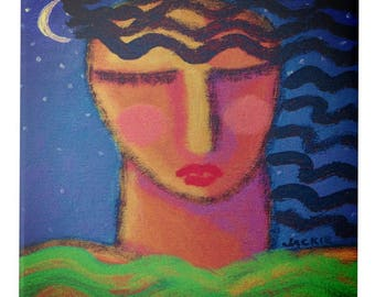 Woman in the Moonlight Original Abstract Painting Printed on Ceramic Art Tile