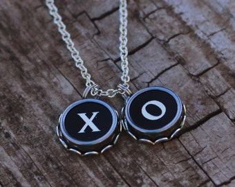 XO Valentine Necklace, Typewriter Key Jewelry, Gift Idea For Her