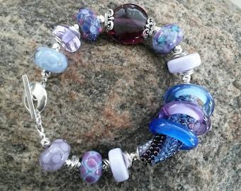 Handmade Lampwork Bead Bracelet by JudyDalyReganti  -Blossom- Blues, Lavender and Purples