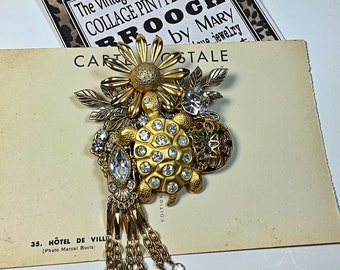 Vintage Collage Brooch rhinestone turtle flower pin upcycled art dangle