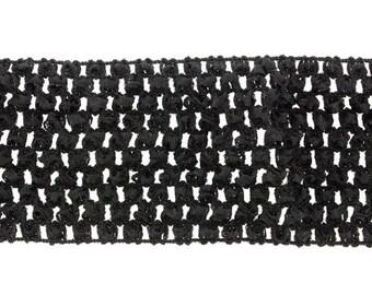 SALE - 5 yards - 2 3/4'' Elastic Woven Crochet Headband Ribbon - Multiple Colors