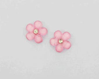 """50pieces - 5/8"""" Resin Flower with Gem in Pink"""