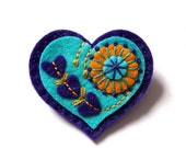 50% CHRISTMAS SALE VALENTINE Heart felt brooch pin with freeform embroidery