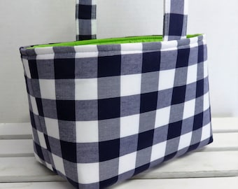 Easter Fabric Candy Bucket Egg Hunt Basket Storage Bin Container - Navy Blue and White Large Checks Fabric