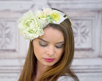 Pastel Green and White, Floral Headdress, Flower Headband, Costume Headdress, Bridal Flower Crown, Woodland Headpiece, Elven, Renaissance