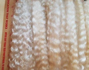 """F213 Lustrous Brushed Bundled Washed 1 oz  8""""- 10""""  Natural mohair Long Locks from Nettle"""