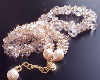 ON SALE - CUSTOM Made Just For You - Pink Morganite and Akoya Pearl Cluster Necklace