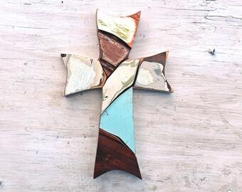 Wood Mosaic Cross, Reclaimed Wood Cross, Christian Decor, Distressed Cross Religious Wall Art Wooden Wall Cross, Rustic Cross Wood Wall Art