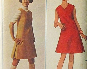 1960s Vintage Sewing Pattern Butterick 4719 Misses One-Piece Dress or Jumper Pattern Size 12 Bust 34 Uncut