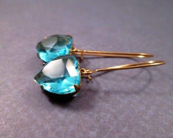 Rhinestone Heart Earrings, Aqua Blue and Brass Dangle Earrings, FREE Shipping U.S.