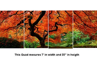 Portland Japanese Garden, Lace Maple Quad, 4 panels adhered to birch includes an easy hanging system