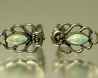 Vintage/ estate 1950s chrome and turquoise glass costume clip on earrings - jewelry jewellery